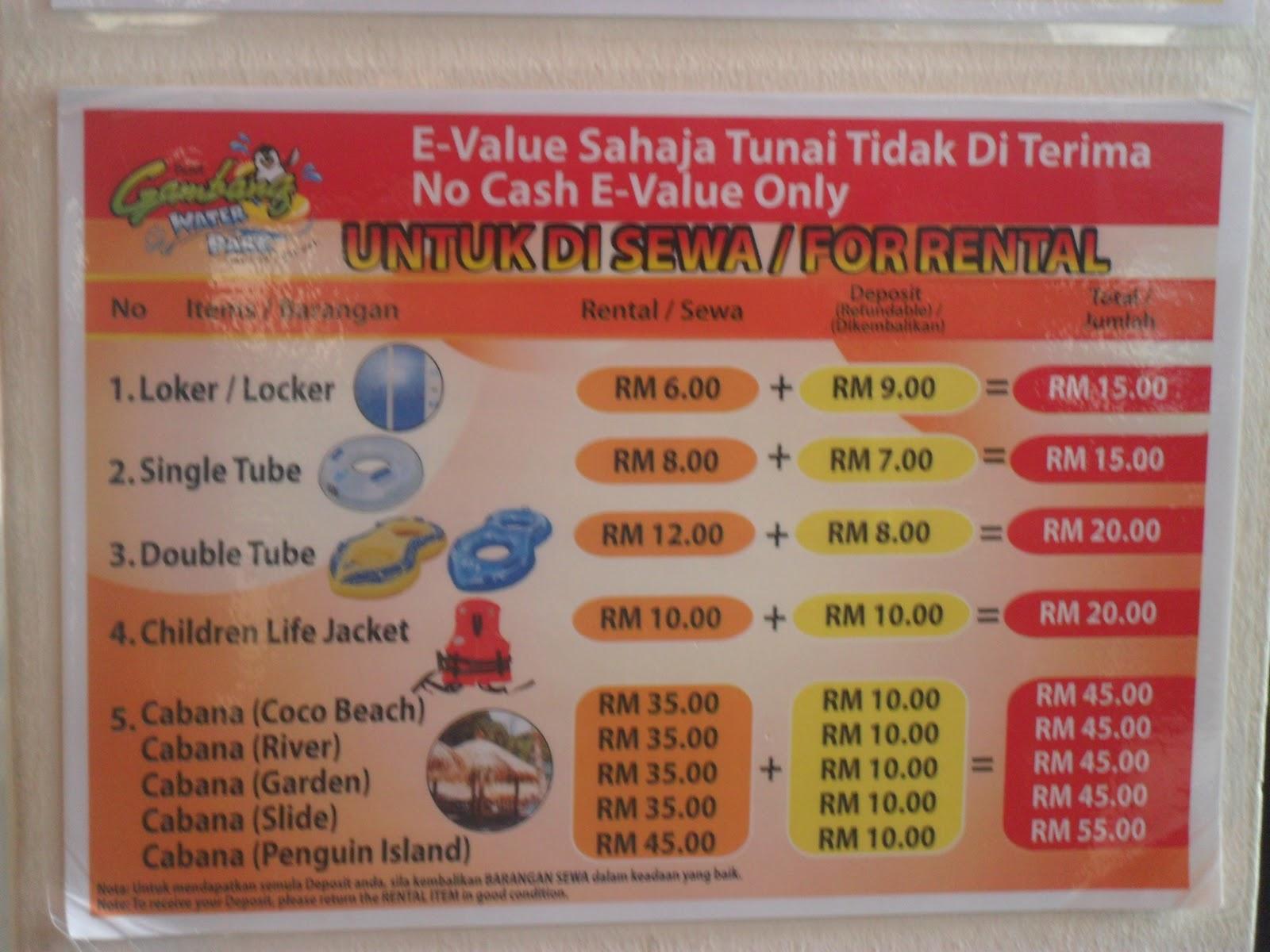 Untuk di sewa - Bukit Gambang Water Park