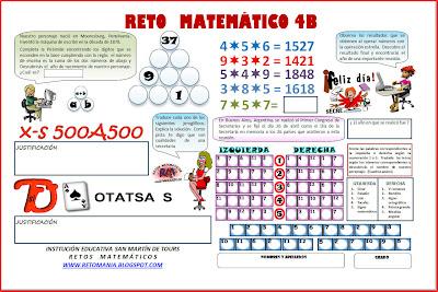 Reto Matemático, Desafío matemático, Acertijos, Crucigramas, Operaciones diferentes, Jeroglíficos, Retos para pensar, Juego de letras, Día de la Secretaria