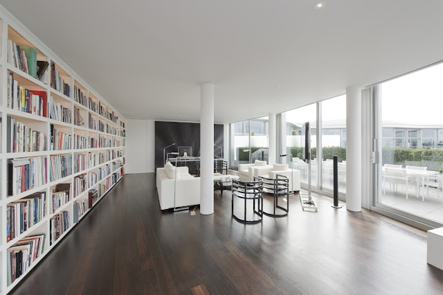 Picture of private large modern library in the London penthouse
