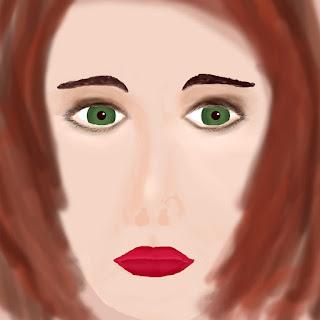 digitale Porträtzeichnung einer Frau Version 1