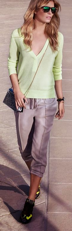 Intermix Summer 2014. in green shirt and gry pant