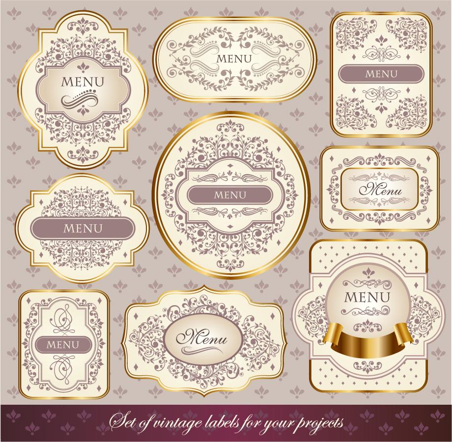 上品な金縁の飾りフレーム Fine borders lace patterns イラスト素材