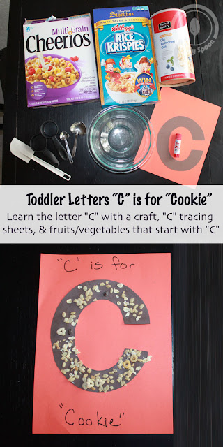 Toddler/Preshooler letter craft C is for Cereal or cookie with related craft, tracing sheets and fruits/vegetables.