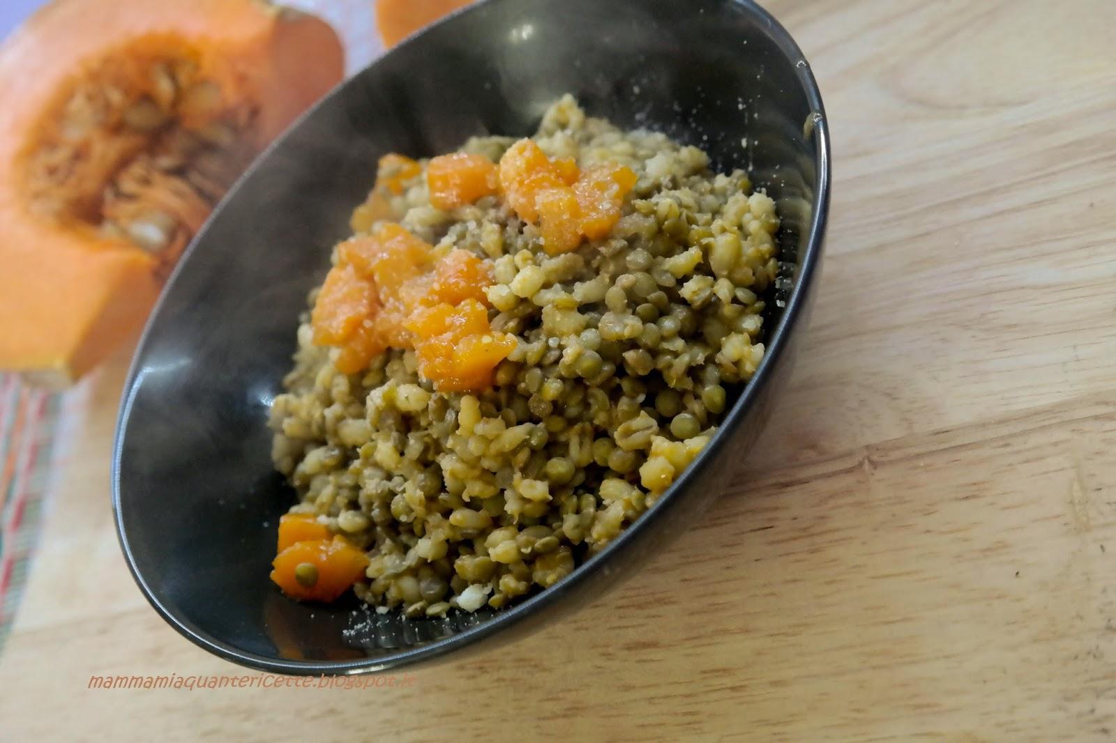 zuppa  tiepida di orzo, lenticchie e zucca caramellata