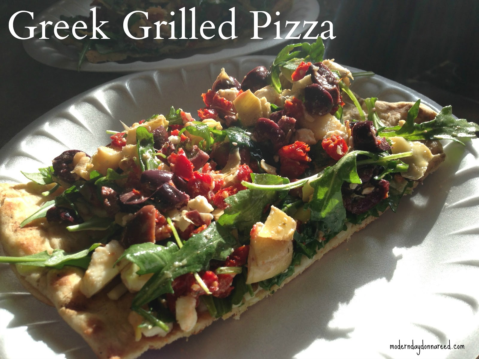 Confessions of a Stay-At-Home Mom: Grilled Greek Pizza {Recipe}