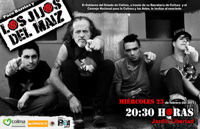 flyer los jijos del maiz jardin liberta colima, banda liderada por paco barrios, baterista de botellita de jerez