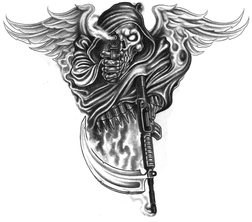 Death with wings and gun tattoo design hm art amp tattoo
