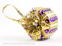Purple and Gold Handmade Christmas Decoration