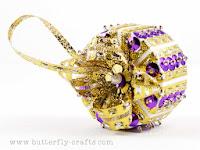 Purple and Gold Handmade Christmas Decoration