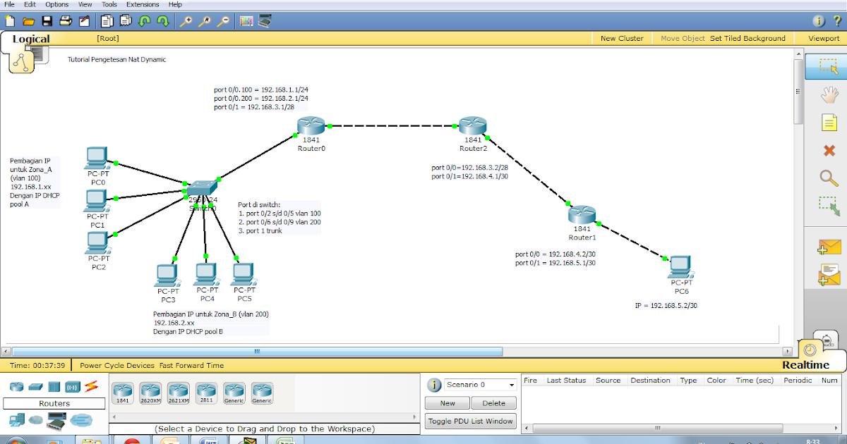 Adrian Punya Blog: Tutorial IP NAT Dynamic di Packet Tracer