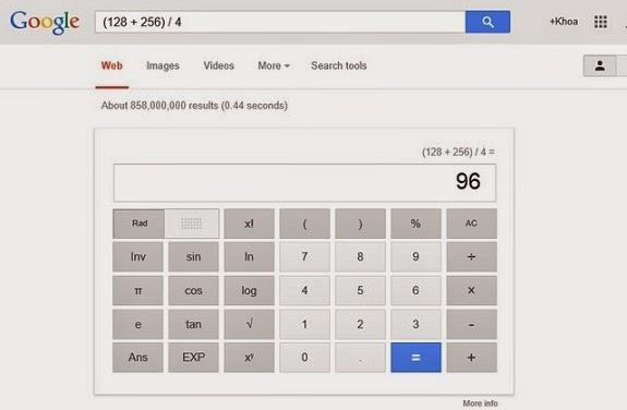 tính toán trên google