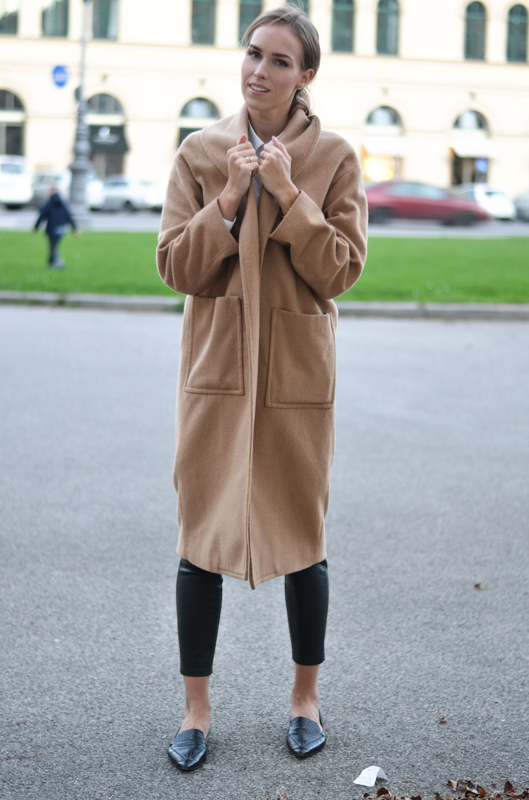 kristjaana mere camel coat leather pants point toe flats minimalist fall outfit