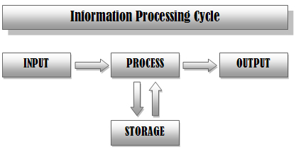 the information processing cycle The particular sequence of events in the information processing cycle refers to  the method in which the data is processed in computerized systems.