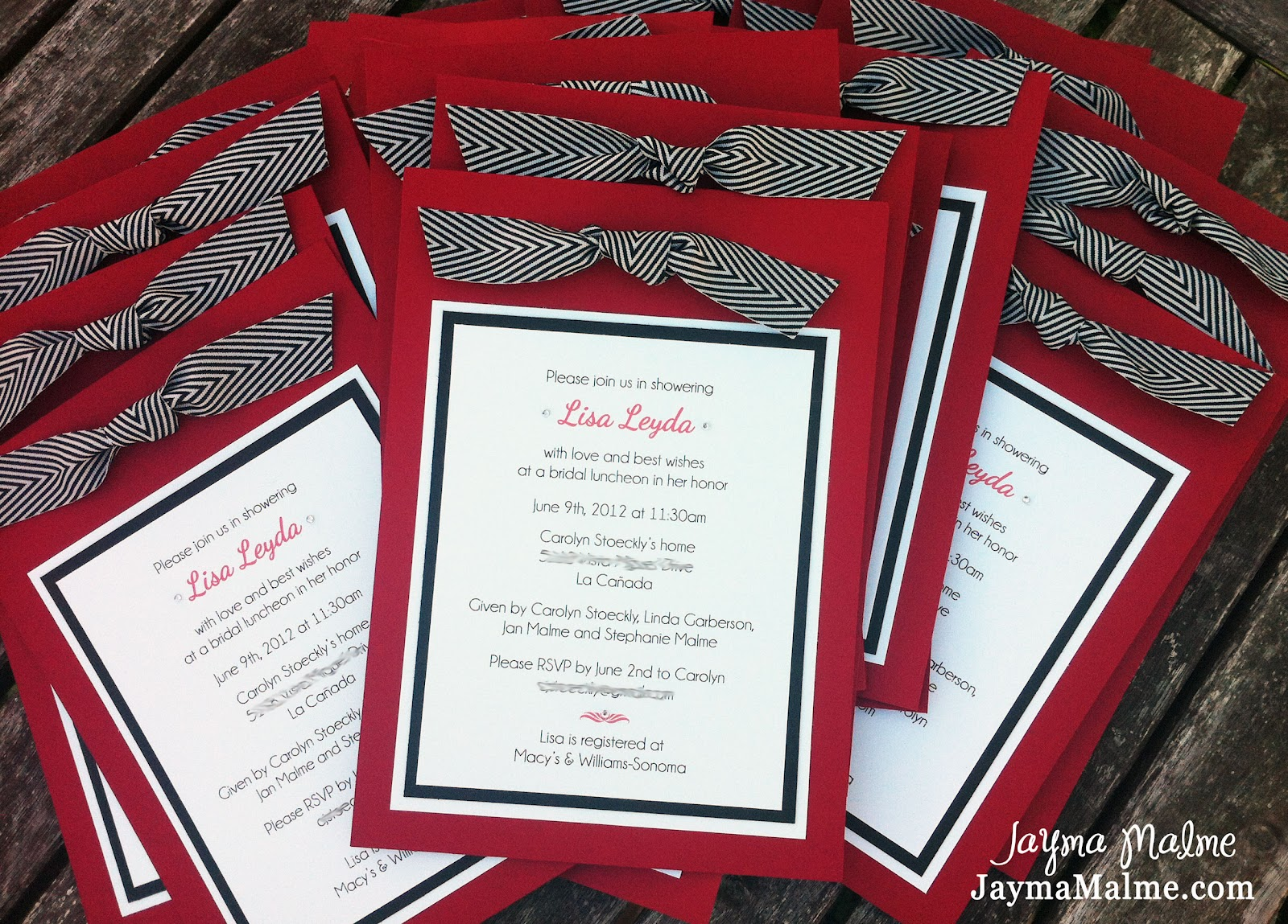 Playing with paper scrapbooks cards diy bridal shower bridal shower invitations red black white with chevron ribbon filmwisefo Gallery