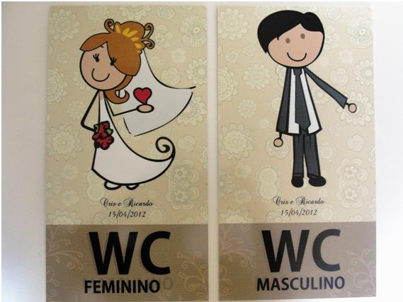 Papelaria personalizada para casamento -> Placa De Banheiro Feminino Divertida