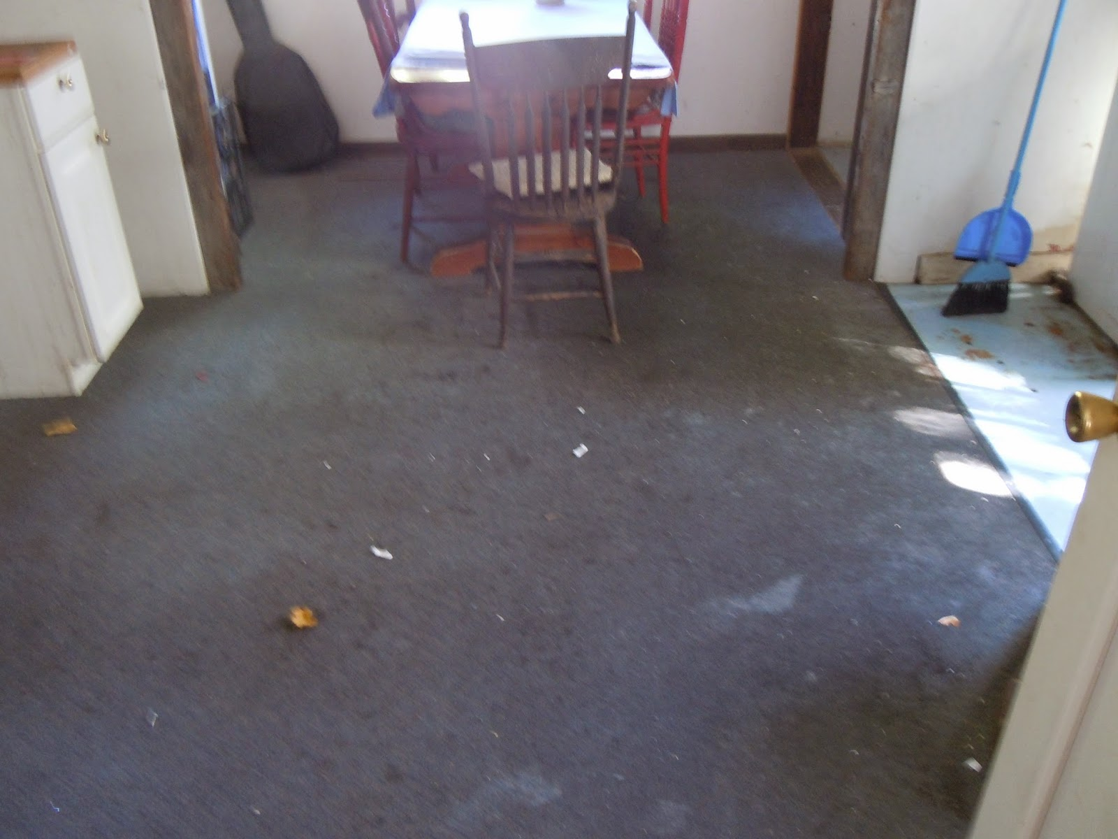 Living designs a paper bag floor over asbestos linoleum old rug on left new linoleum on right dailygadgetfo Images