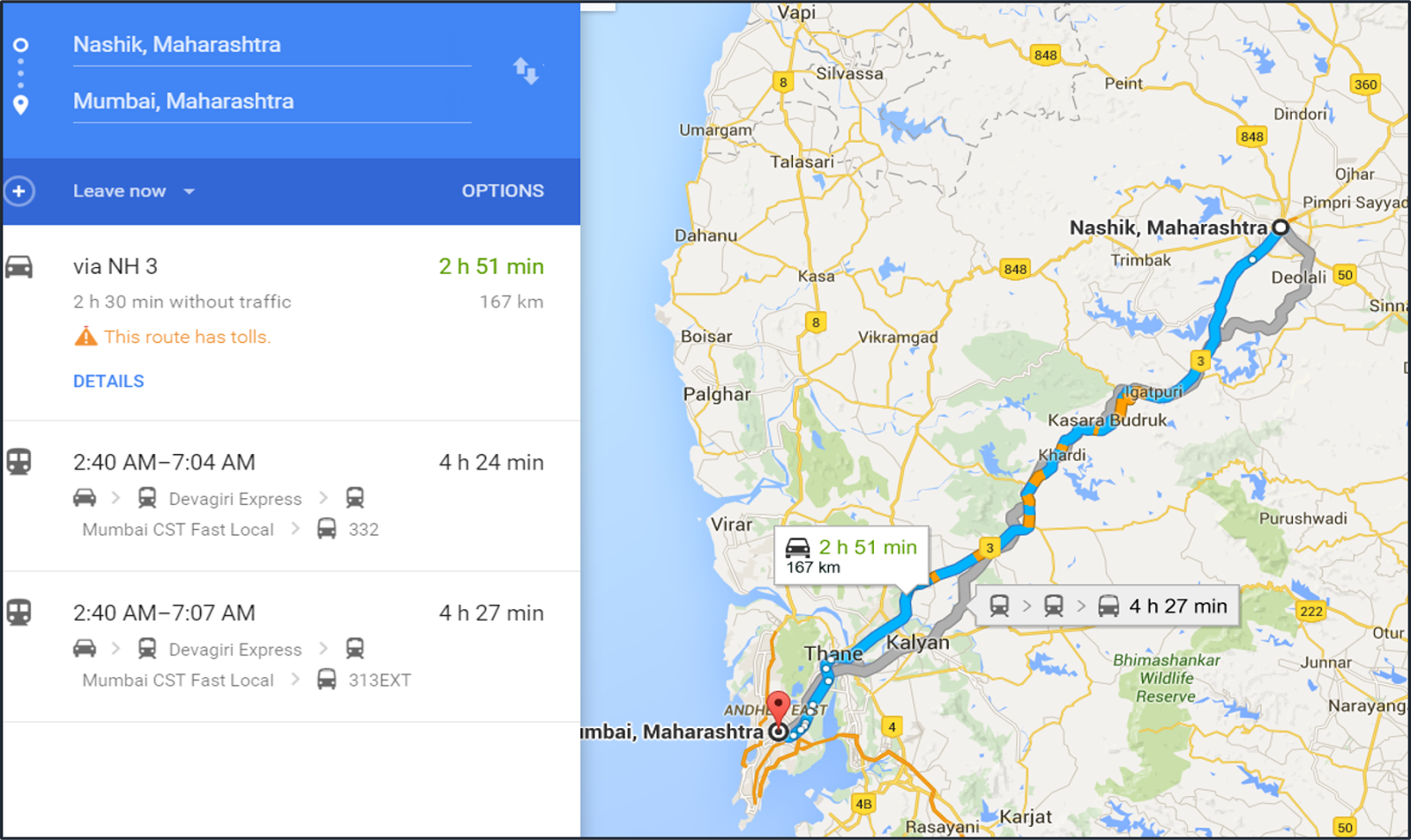 How to reach fastest to Mumbai from Nashik Boneless Research
