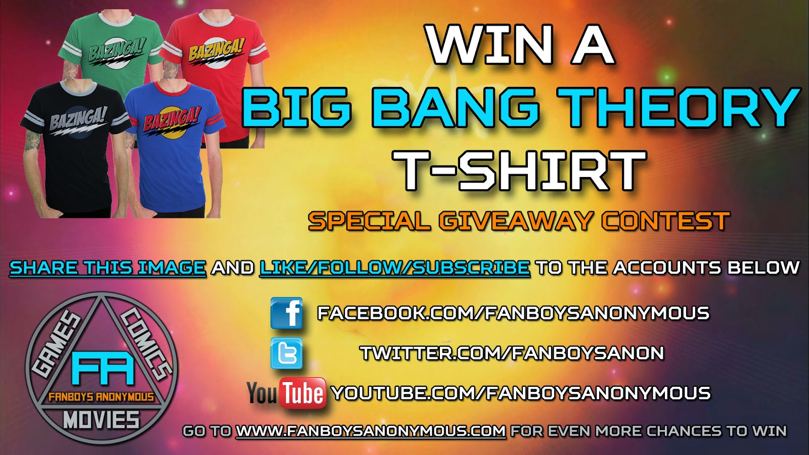 win a free Big Bang Theory t-shirt by subscribing to Fanboys Anonymous