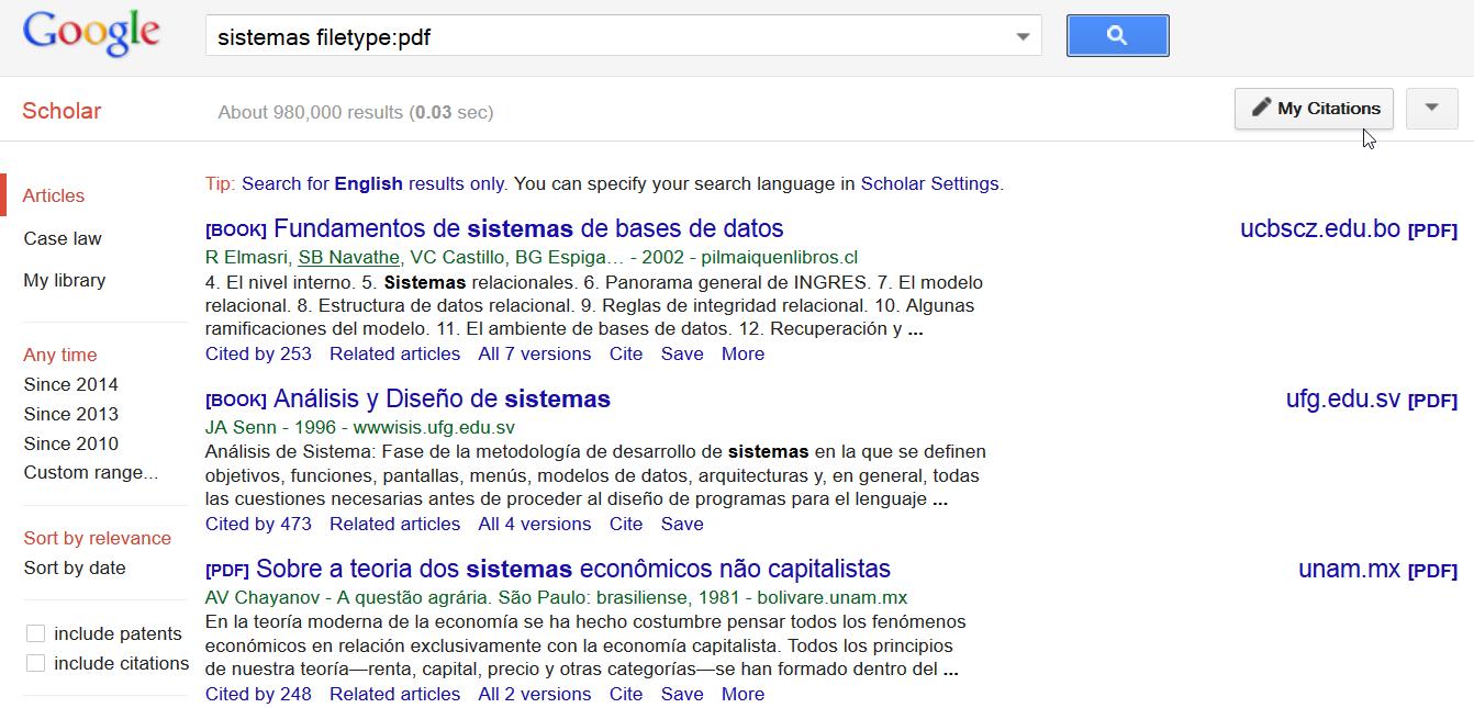 Servicios de Google: Scholar
