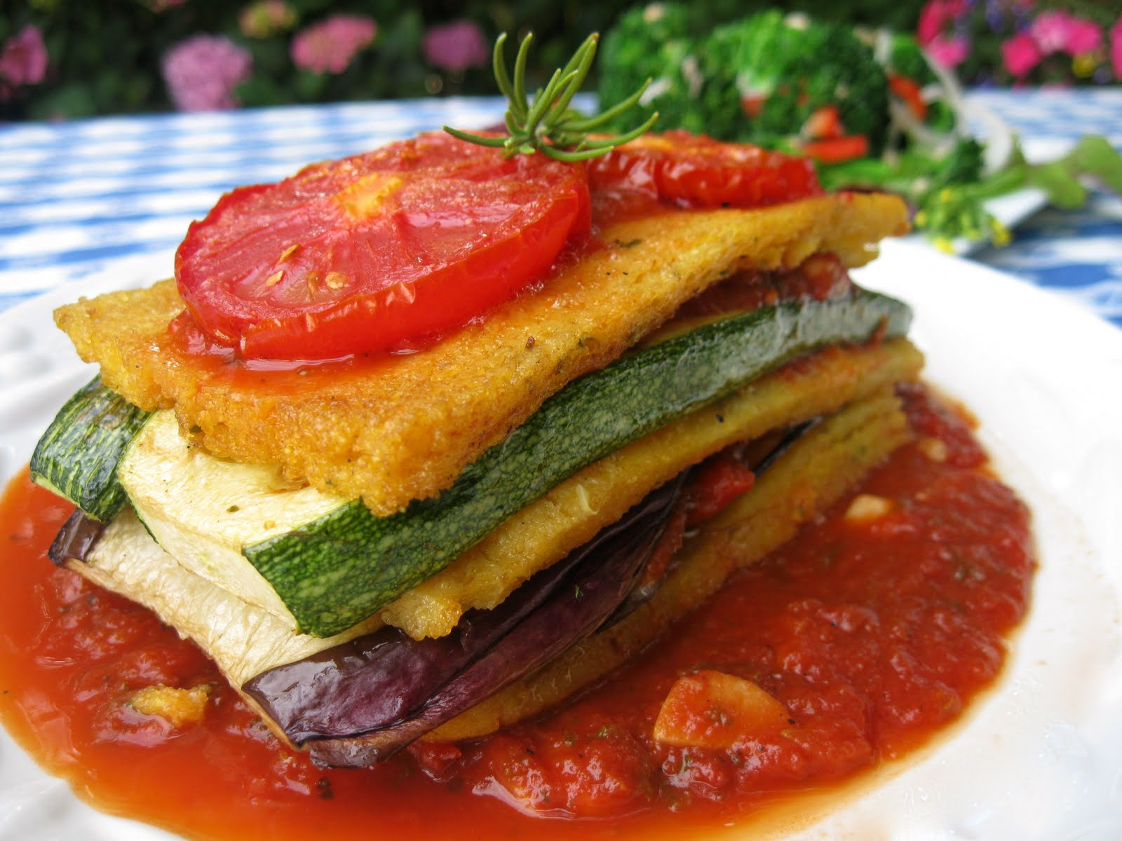 Polenta-Veggie Stacks Recipe — Dishmaps