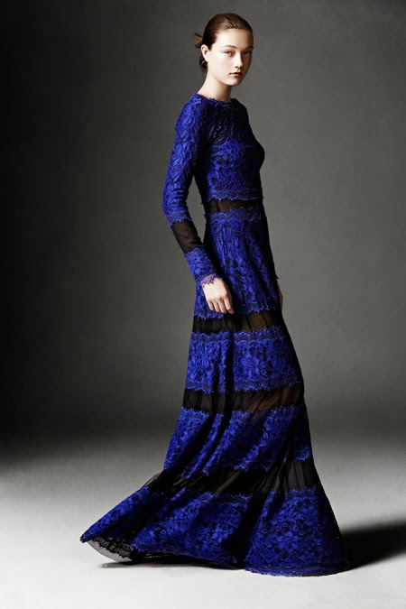 Modest blue lace maxi dress with sleeves by Tadashi Shoji Mode-sty