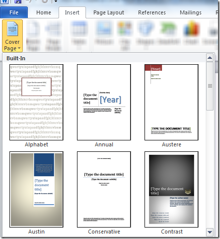 Add a Cover Page ~ Microsoft Office Support