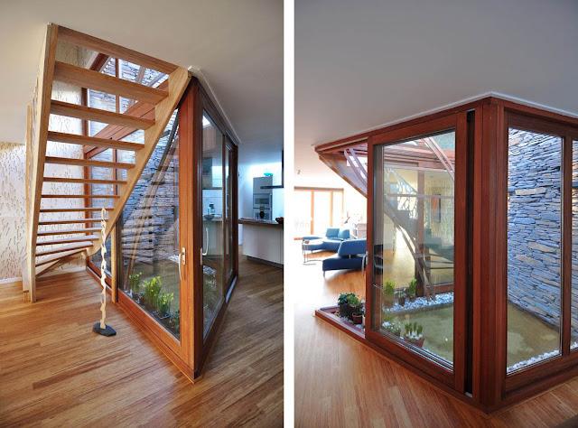 Fachada de madera y acero corten casa nieuw leyden - Habitaciones con escaleras ...