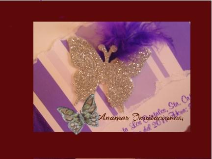 Anamar Invitaciones: Invitación XV Mariposa