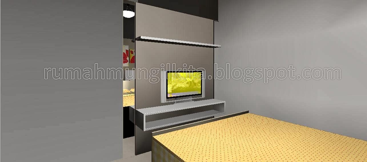 Rak TV simpel dengan panel kayu