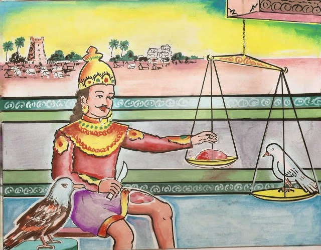 Sibi - The ancient Tamil king who give his own muscle to save a dove!