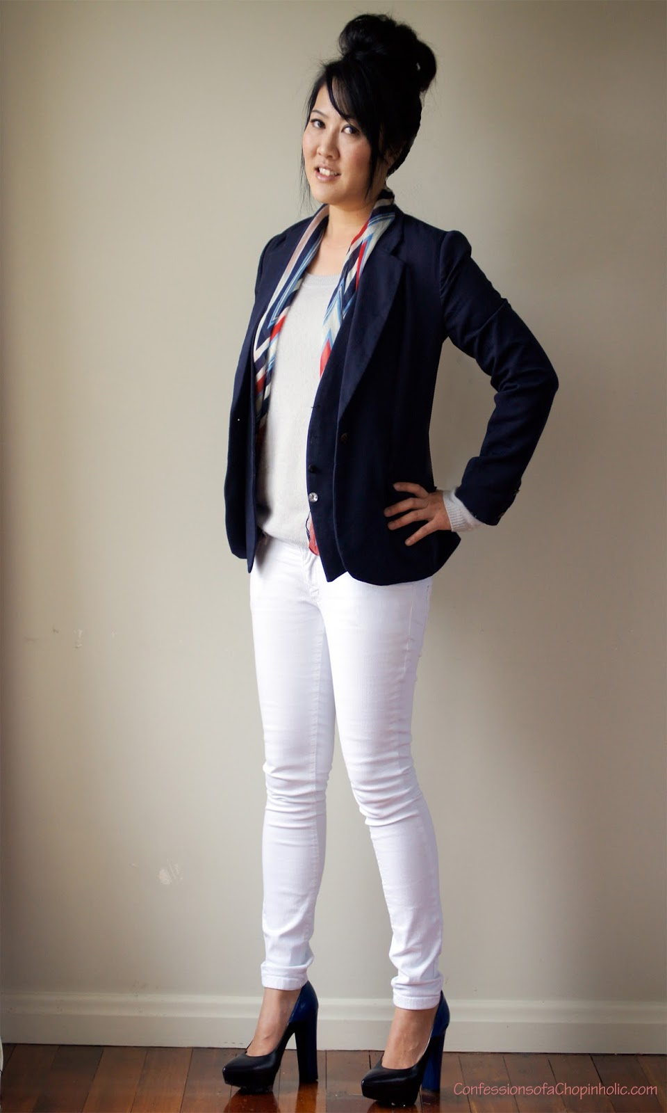 spring jean trends, 2013, dione, karen walker, beau coup, colored denim trend, white jeans trend, striped scarf, navy blazer, esprit, cashmere,