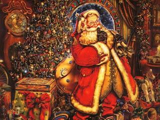 Santa Claus with xmas supply