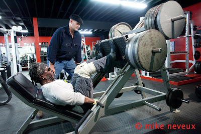 ROBBY ROBINSON AND DEAN MURRAY - HVY LEG PRESS OVER 1000 LBS AT 65 PHOTOSHOOT FOR IRON MAN MAGAZINE BY MIKE NEVEUX MASTER CLASS with ROBBY ROBINSON - INSTRUCTIONAL DVD -  ▶ Includes materials on Dean Murray muscle restoration work  ▶  www.robbyrobinson.net/dvd_master_class.php