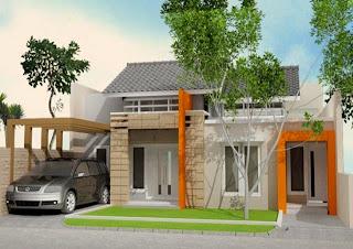 rumah type kecil dan kombinasi warna menarik bagian depan teras rumah