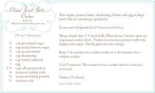 Recipe Card for Peanut Butter Cookies