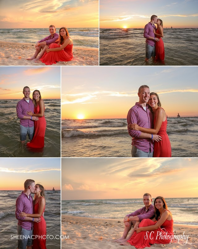 saint joseph michigan beach engagement photos lake michigan