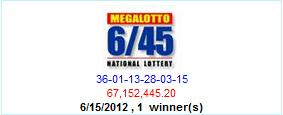 PCSO Lotto Results- June 15, 2012- Mega Lotto 6/45