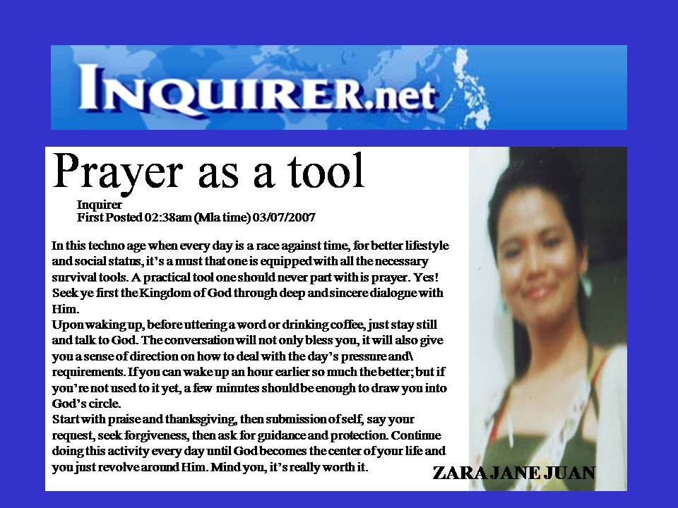 Prayer as a tool by Ambassador Zara Jane Juan