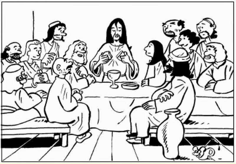 Dibujo para colorear de Jesus y los Apóstoles en la Última cena