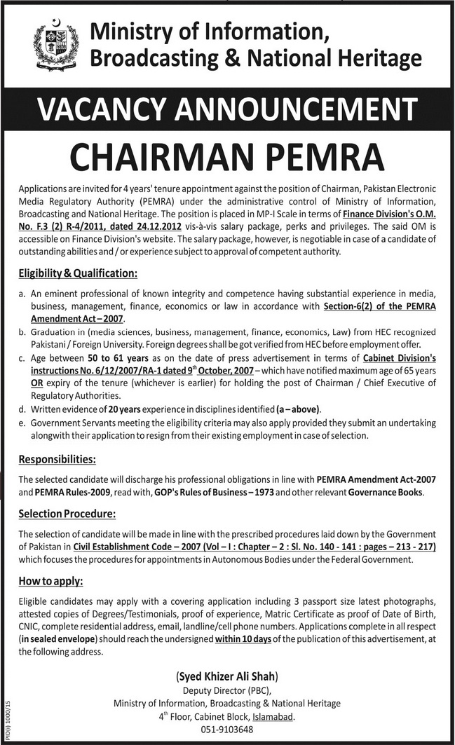 Jobs in Ministry of Information Broadcasting and National Heritage ...