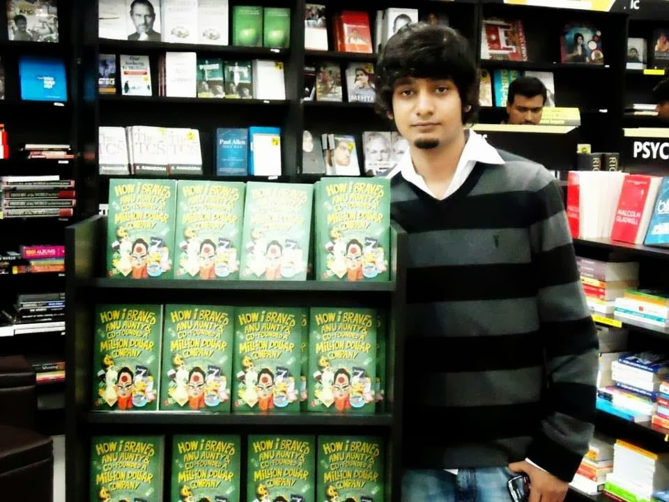 Varun Agarwal with his book ' How I braved Anu Aunty & Co-founded A Million Dollar Company '