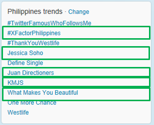 X Factor and 1D Philippines Trends Twitter