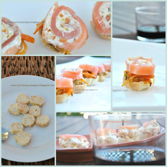Pincho de salm n ahumado con queso philadelphia y avellanas for Canape de salmon ahumado