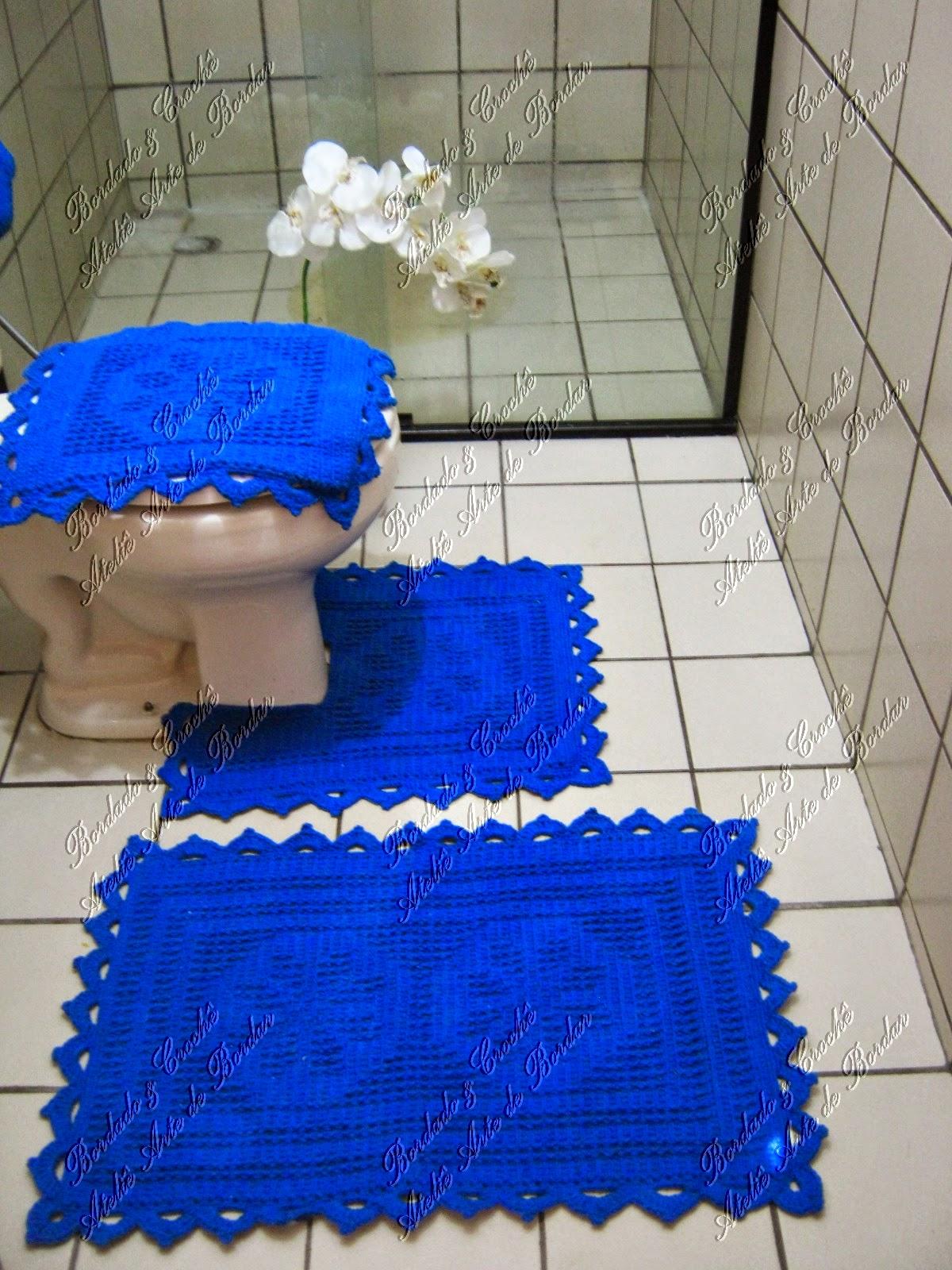 ATELIÊ ARTE DE BORDAR: Jogo de Banheiro Azul Royal #0236C9 1200x1600 Banheiro Com Azul