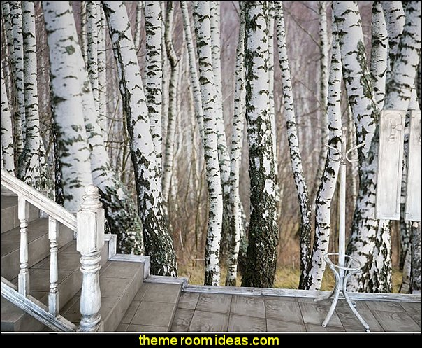 Birch Forest Trees Black And White Wall Mural Part 66