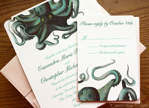 Octopus Wedding Invitations in Green and Peach by Concertina Press