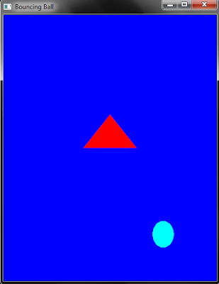 OpenGL program to make simple triangle and bouncing ball