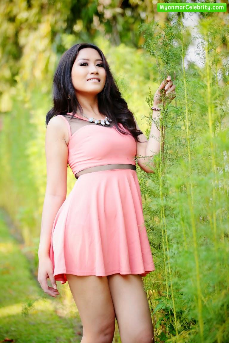 Model Ei Nu Win in Cuttie Pink Mini Dress