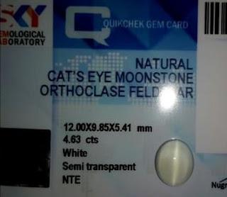 Batu Natural Moon Stone Fenomena Cats Eye Edisi Kolektor