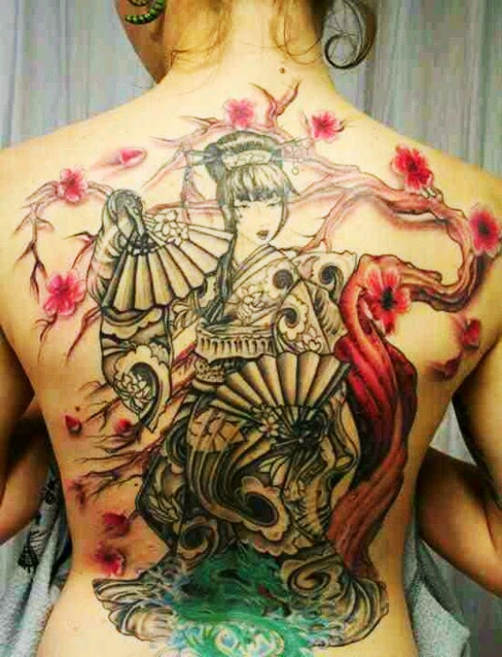 Geisha Tattoo on Backside for Girl